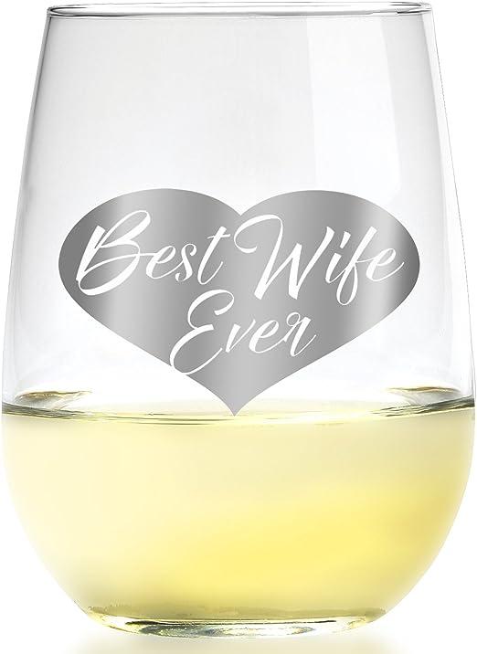 Amazon.com: Smart Tart mejor esposa Ever Copa de vino I ...