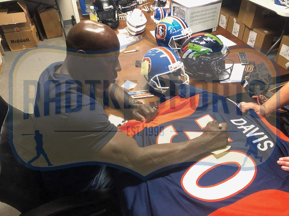 Terrell Davis Autographed//Signed Denver Custom Blue Jersey withSB XXXII MVP Inscription