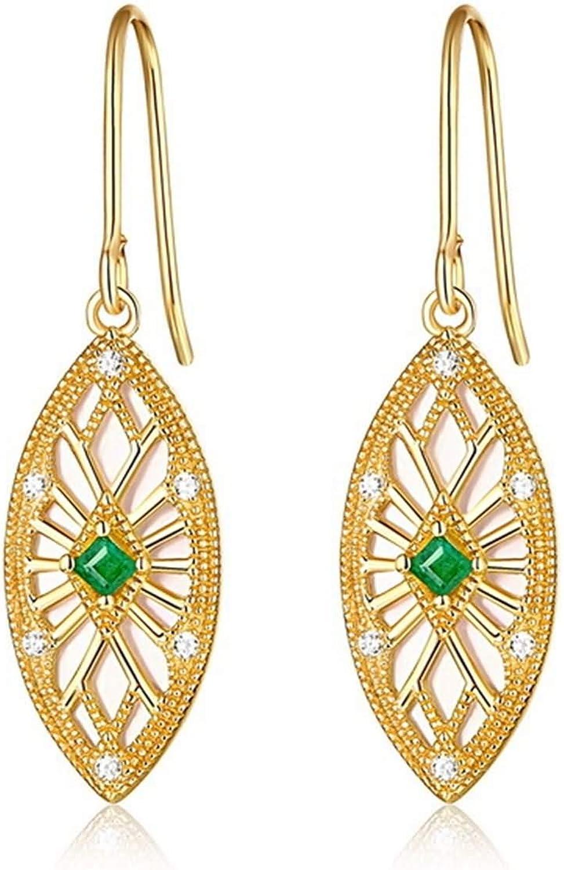 Epinki Plata de Ley 925 Pendientes para Mujer Niñas Flor Hueca Vintage Esmeralda Oro Pendientes Colgantes