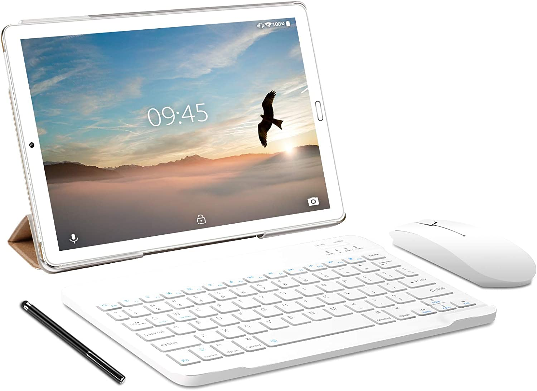 Tablet 10.0 Pulgadas YESTEL Android 10.0 Tablets con 4GB RAM + 64GB ROM - /WiFi | Bluetooth | GPS, 8000mAH, con Ratón | Teclado y Cubierta-Dorado