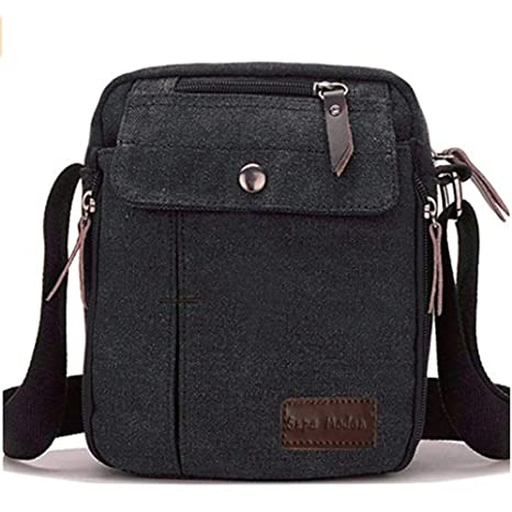 Amazon.com  Canvas Small Messenger Casual Shoulder Travel Organizer mens  crossbody bag (Black) …  Clothing 7e5e01c3ee1a2