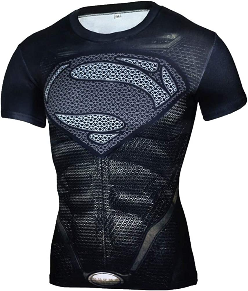 PKAWAY Cool Heros Themed Compression Athletic Shirt Black