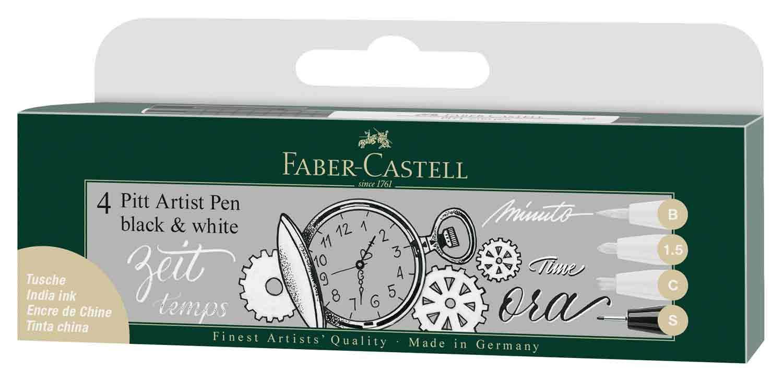 Faber Castell FC167151 Pitt Artist Pen - Black/White (Pack of 4)