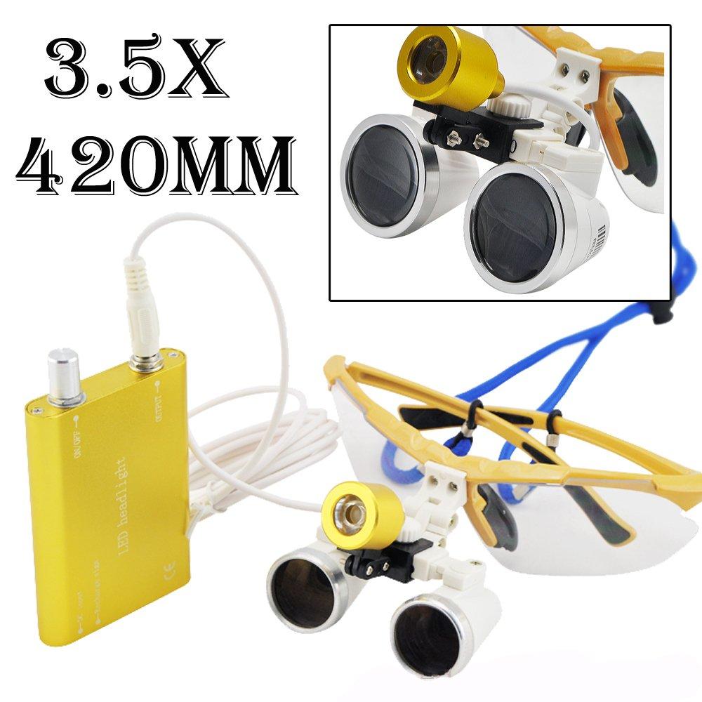Dental Dentist Surgical Medical Binocular Loupes 3.5X 420mm Optical Glass Loupe With Headlamp Light (Yellow)