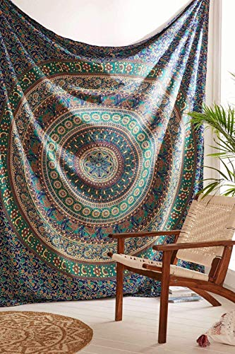 Third Eye Export - Indian Mandala Beach Blue Throw Hippie for Bedroom Home Decor Dorm Wall Hanging Medallion Bohemian Blue Boho Tapestry Elephant Bedspread Tapestries (Blue, Queen)