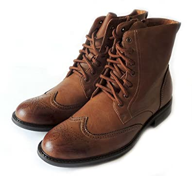 Delli Aldo New Mens HIGH Ankle Boots Leather Lined LACE UP Oxfords Wing TIP Zippered Dress Shoes M828 Brown