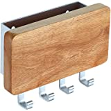 KAIYING Decorative Wooden Key Chain Rack HangerMail Letter and Key Holder Organizer for Entryway Kitchen Hallway Foyer-Wall MountBeech Wood/Aluminum Brushed Finish