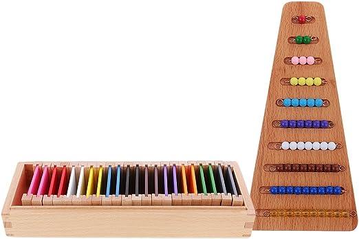Caja de Color Material de Montessori con Cuenta de Madera Accesorio para Niños: Amazon.es: Hogar