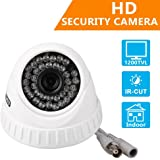 "EWETON 1/4"" CMOS 1200TVL CCTV Home Surveillance 36 LED 3.6mm Lens Wide Angle Indoor Dome Security Camera with IR Cut-85ft Night Vision Distance,Plastic Housing White"