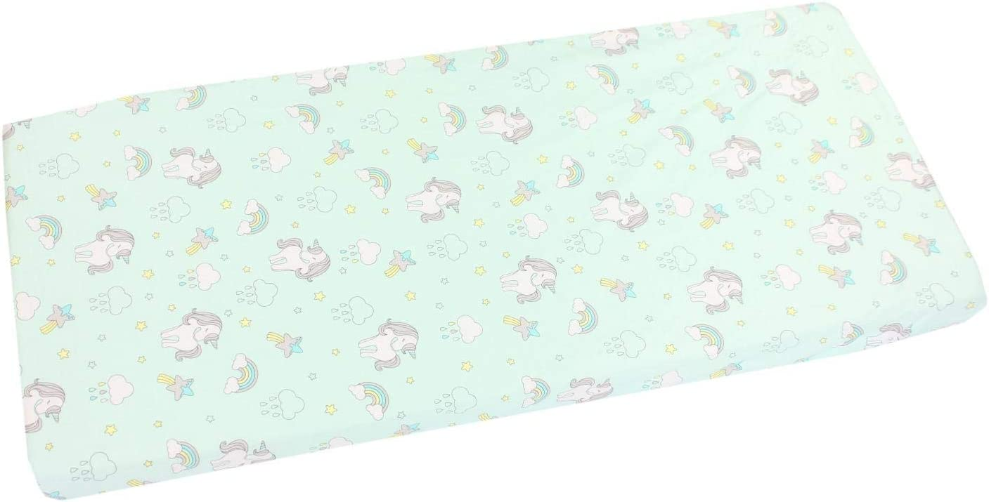 TupTam Baby Bed Crib Cot Fitted Sheets with Printed Designs Bear Moon Pink 70 x 140 cm