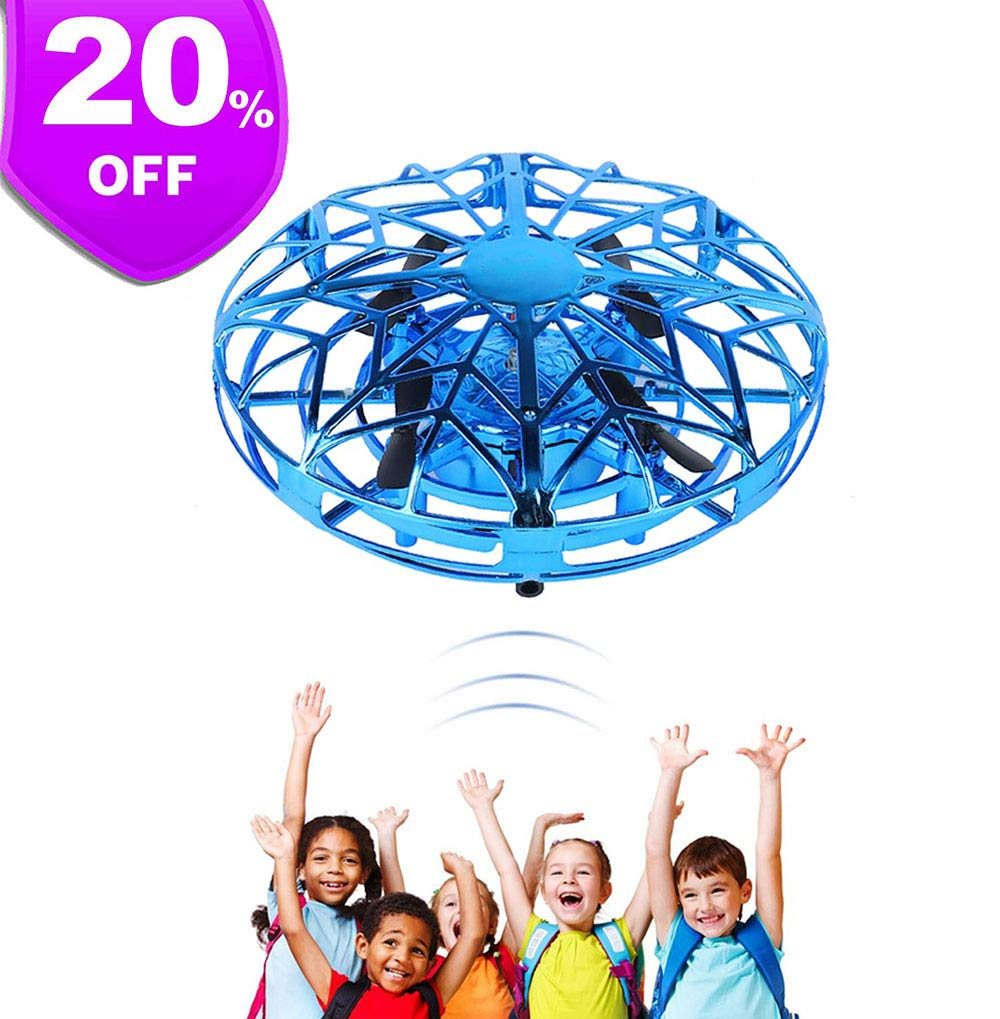 S.SUPERLOVE UFO Flying Toys Mini Heliball RC Flying Ball Hand Controlled Drone Flying Orb Infrared Induction Hover 360 Whirley Ball with Lights Flying Toys for Boys Girls by S.SUPERLOVE