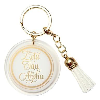 Amazon.com: Zeta Tau Alfa ZTA Oro Borla clave Cadena: Clothing
