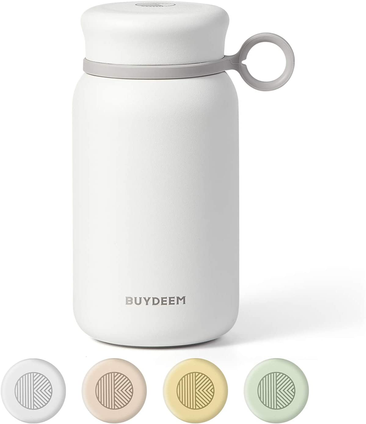 Buydeem CD13 Stainless Steel Mini Travel Mug, Vacuum Insulated Tumbler with Screw-on Lid, Sweat Free, Double Wall Thermos Mug for Home, Office, Outdoor Works, 10oz, Daisy White
