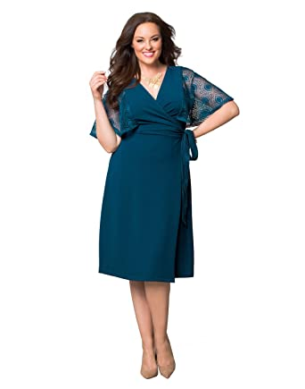42c4981e8ec Amazon.com  Kiyonna Women s Plus Size Captivating Crochet Wrap Dress ...