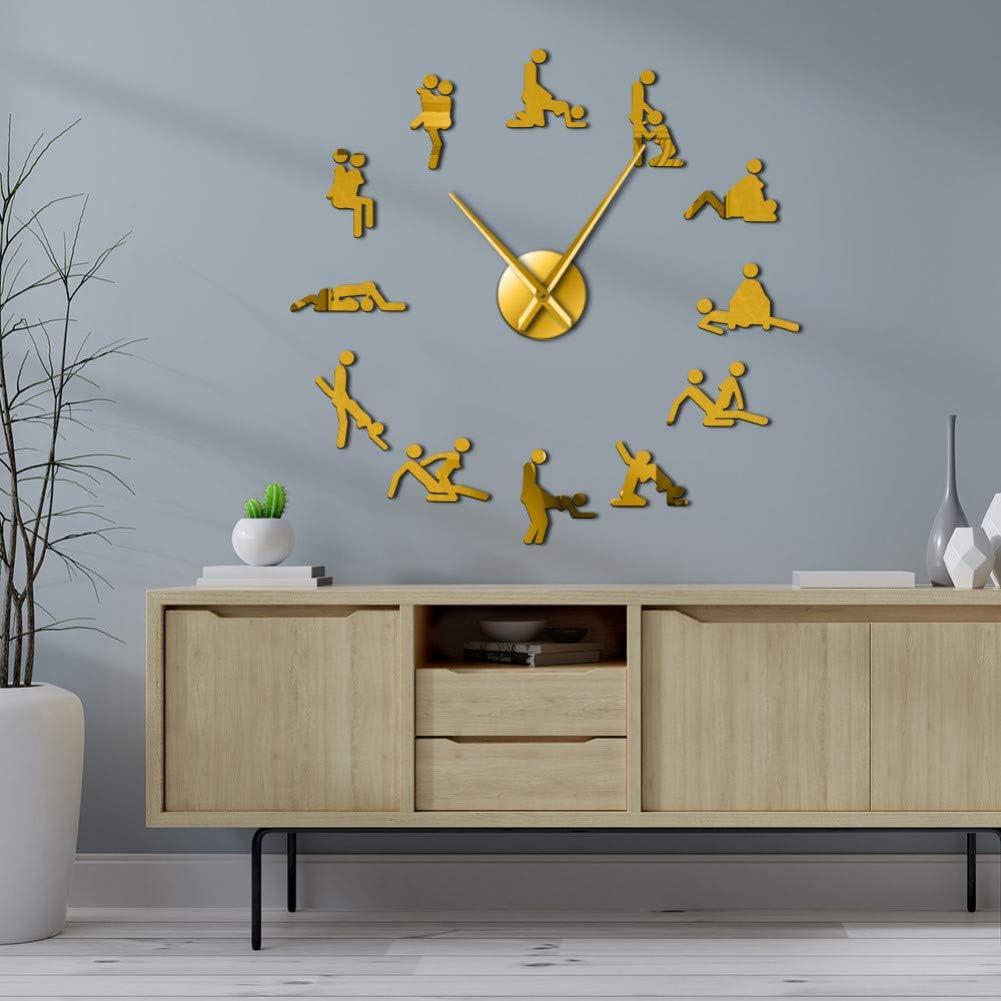 RQJOPE Reloj de Pared de Bricolaje Naughty 3D DIY Mute Giant Reloj de Pared Grande Guess The Positions Hardcore Mujer Hombre Hombre Mujer Regalo de cumpleaños de Navidad
