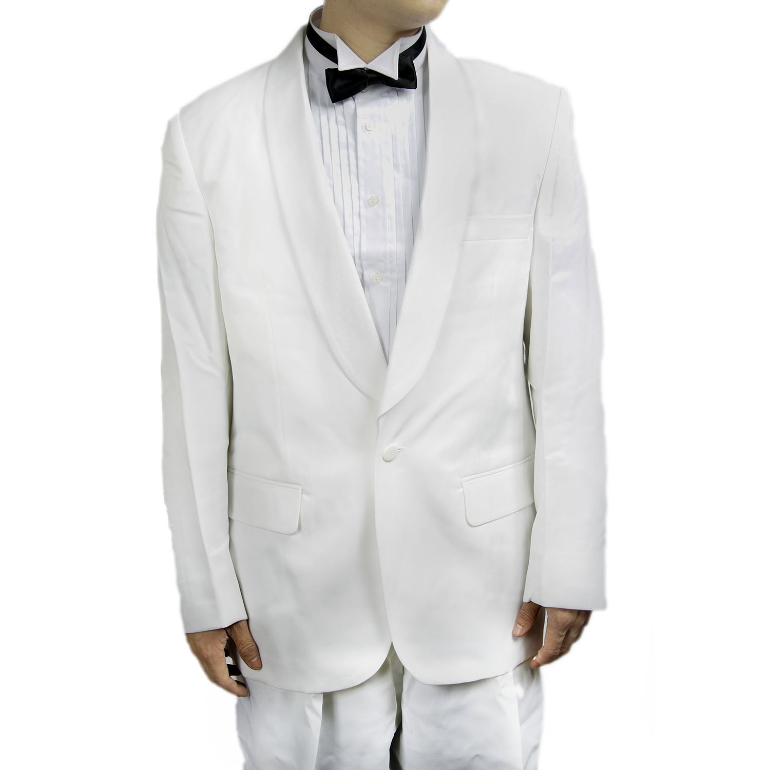 New Mens Classic One Button White Tuxedo Dinner Jacket with Shawl by Broadway Tuxmakers
