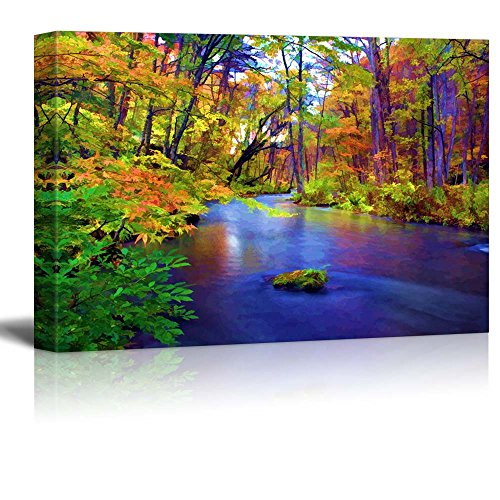 Painting of a Forest During Fall Time Surrounding a Lake