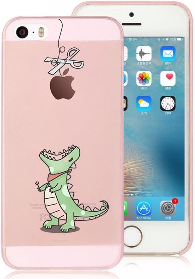 Incendemme Coque Housse / Etui Téléphone en Silicone Souple Cute Pomme a Jouer Transparent Cool pour iPhone 4/4s/5/5s/6/6s (iPhone 5/5s/SE, Crocodile)