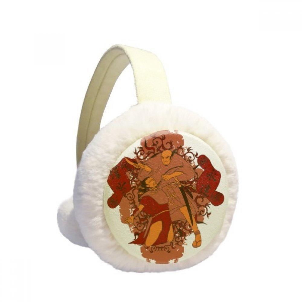 Japan Banners Japanese Pattern Winter Earmuffs Ear Warmers Faux Fur Foldable Plush Outdoor Gift