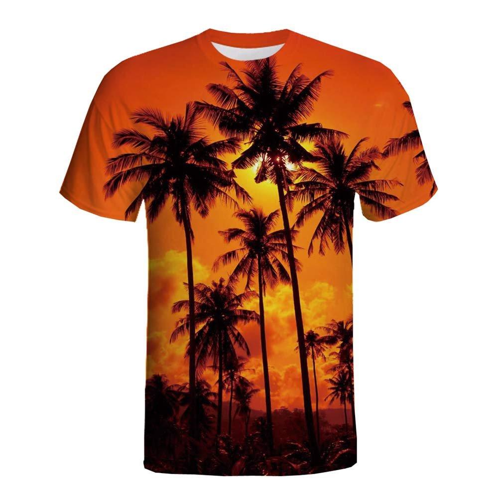 Yutao Funny Boys Mens Novelty 3D Printing Palm Summer Short Sleeve T-Shirts Top Tee Blouse