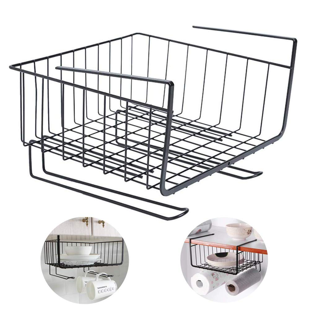 JIAN.C Hanging Kitchen Baskets Under Cabinet Storage Shelf Wire Baskets Organizer Racks for Cupboard Desk Bookshelf Shelves Storage for Cabinet Thickness Max 1.2 inch by JIAN.C