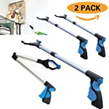 """{Upgraded Version} 2 Pack - Reacher Grabber Pick Up Tool, 32"""" Foldable Lightweight Long Duty Mobility Aid, Extender Gripper Tool, Claw Trash Garbage Picker (Blue Pistol Trigger)"""