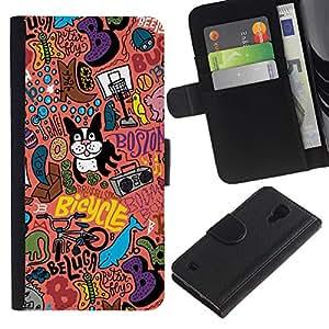 For SAMSUNG Galaxy S4 IV / i9500 / i9515 / i9505G / SGH-i337,S-type® Art Boston Terrier Pink Text Modern Art - Dibujo PU billetera de cuero Funda Case Caso de la piel de la bolsa protectora