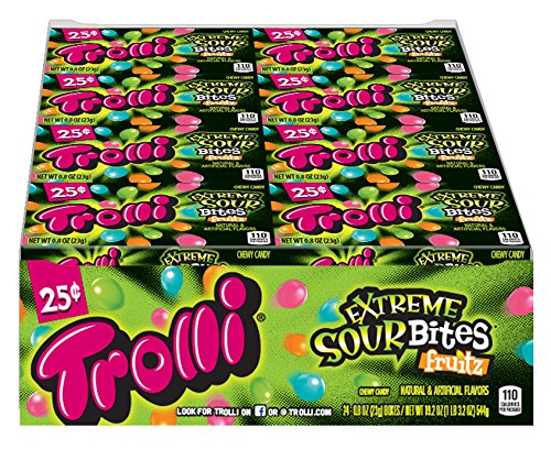 Trolli Extreme Sour Bites Gummy Candy, 0.8 Ounce Bag, Pack of 24