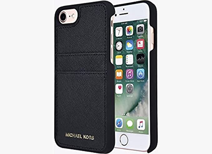 Michael Kors Saffiano Leather Pocket Case for iPhone 8 & iPhone 7, Black