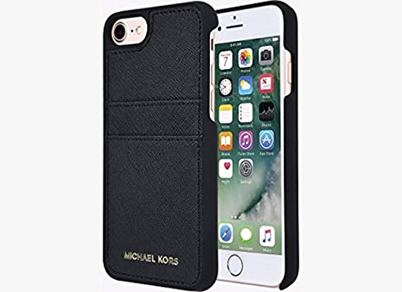 ec8384b5223 Amazon.com: Michael Kors Saffiano Leather Pocket Case for iPhone 8 & iPhone  7, Black: Cell Phones & Accessories