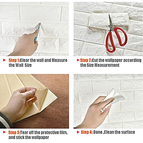 10 PCS 3D Brick Wall Stickers Self-Adhesive Panel Decal PE Wallpaper,Peel and Stick Wall Panels for TV Walls,Living Room Bedroom Sofa Background Wall Decor by Yokstore (Image #5)