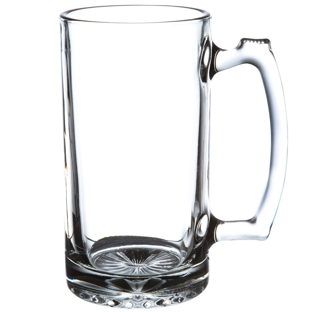 SUPER LARGE 7'' TALL X 3.5'' WIDE GLASS STEIN/MUG, 2.5 POUND, HEAVY-DUTY 16 OUNCE THICK CLEAR GLASS HOT/COLD DRINKING STEIN MUG CUP TUMBLER. USE FOR BEVERAGES LIKE COFFEE, TEA, BEER, WATER, SODA, ETC
