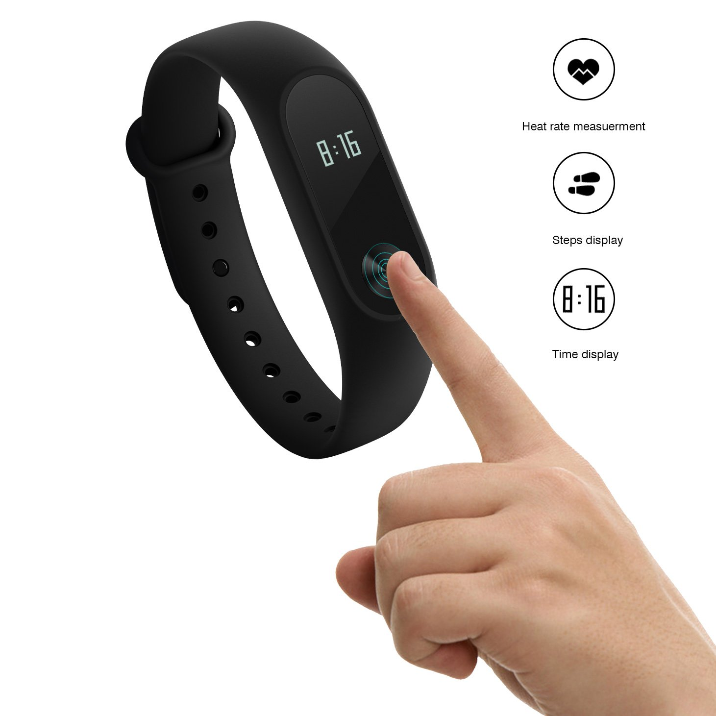 2016 Newly LED Display Mi Band ,Xiaomi Mi Band 2 With LED Display Touchpad Smart Heart Rate Monitor Fitness Tracker Pedometer Waterproof Wireless Bluetooth 4.0 Wristband