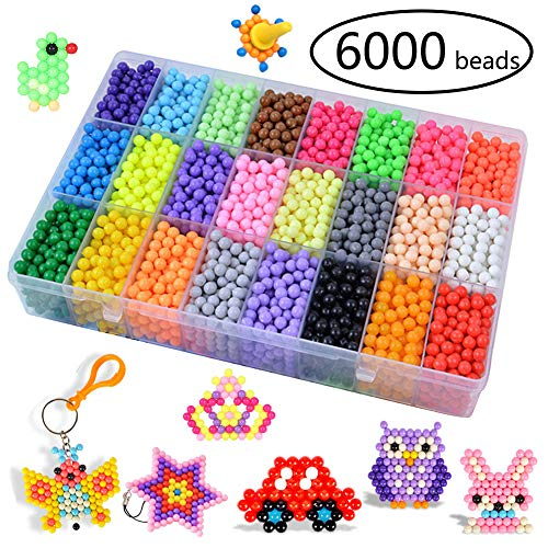 KACAGA Water Fuse Beads Kit 24 Colors 6000 Beads, Refill kit Compatible Beados Magic Water Sticky Beads Art Crafts Toys for Kids Beginners (6000+ Beads Complete - Kids Bead Kits