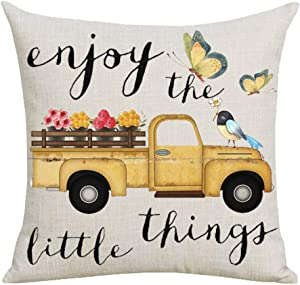 WePurchase Autumn Fall Yellow Pickup Truck Car Colorful Flowers Enjoy The Little Things Decoration Cotton Linen Decorative Home Sofa Living Room Throw Pillow Case Cushion Cover Square 18x18 Inches