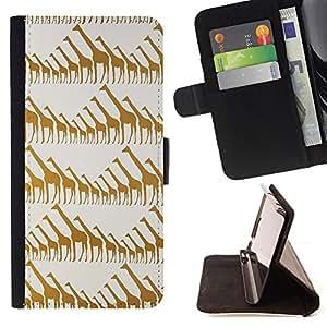 - Giraffe Cute Cartoon - - Monedero PU titular de la tarjeta de cr?dito de cuero cubierta de la caja de la bolsa FOR Samsung ALPHA G850 Retro Candy