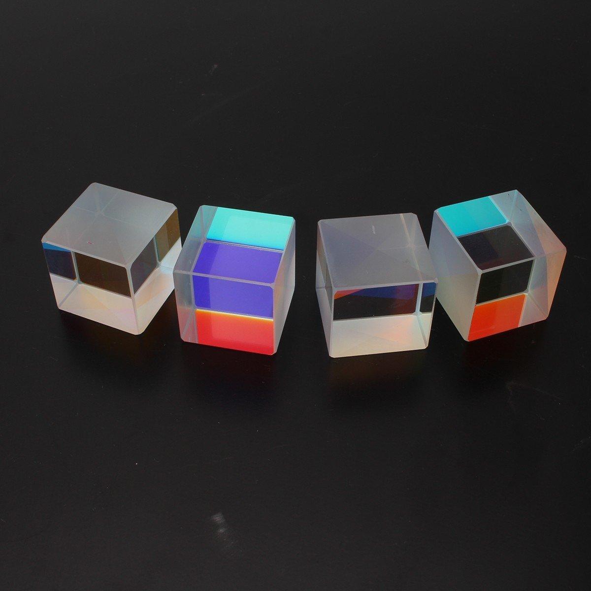 4pcs Cube Prism Optical RGB Combiner Splitter Physics Science Lab Teaching Instrument