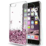 iphone 6 / iphone 6S Case with HD Screen Protector, LeYi Luxury Sparkly Bling Glitter Liquid Quicksand Cute for Girls Women Clear Transparent TPU Gel Bumper Silicone Drop Resistant Shockproof Protection Protective Cover Hard Shell Case for Apple iphone 6 / iphone 6S ZX Rose Gold (Pink)