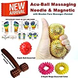 Super India Store Acu-Ball Massaging Needle One Pair For Palm With Two Sujok Rings For Finger