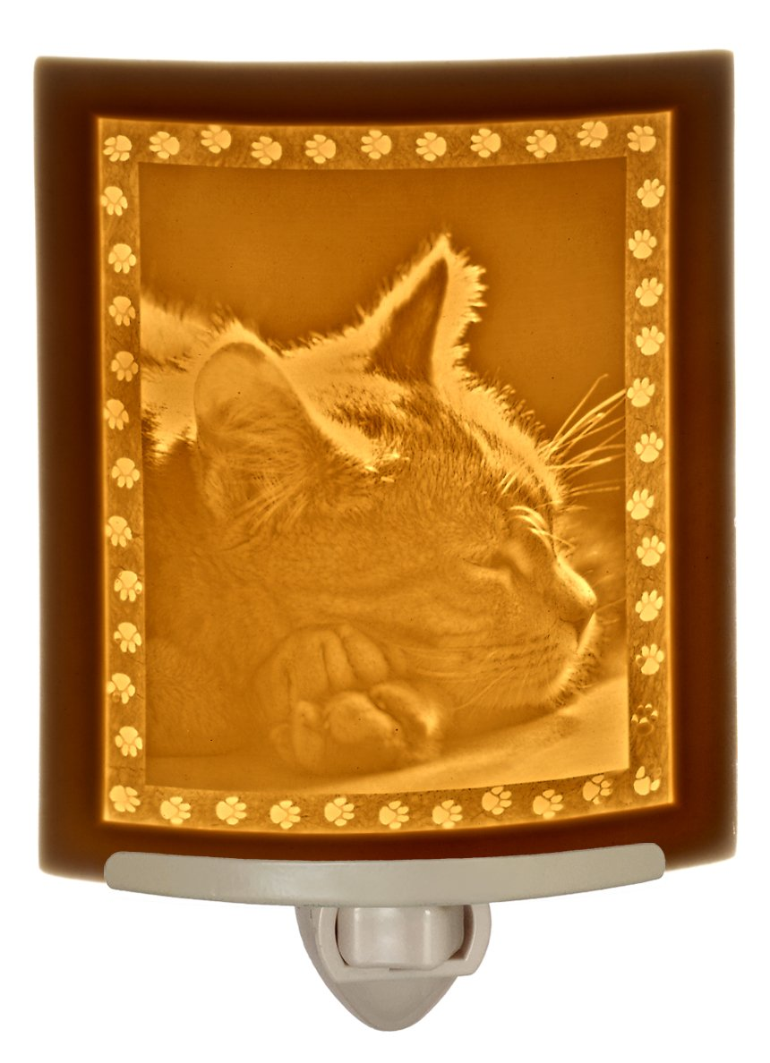 Kitten Dreams Night Light - Glowing Yellow Lithophane Sleeping Cat Image - 3'' X 5''