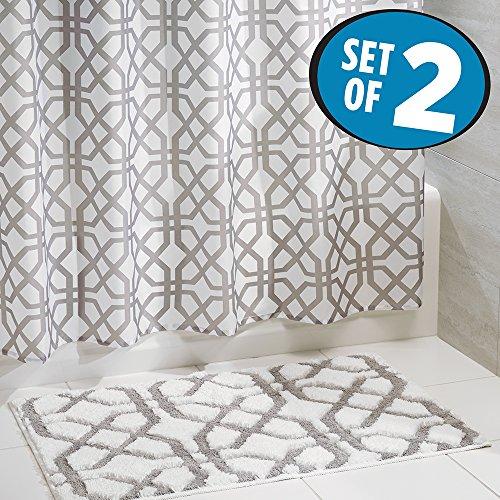 mDesign Fretwork Curtain Microfiber Bathroom