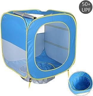 Luerme Pop Up Tente, tente de plage bébé Portable Beach Cabana protection UV Abat-jour extérieur Abri Soleil pour bébé (accueillir 1–3personnes)