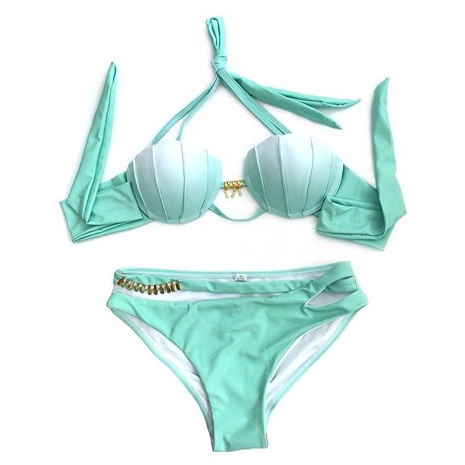 Amazon.com: beachkini Mujer sirena Seashell bañadores Halter ...