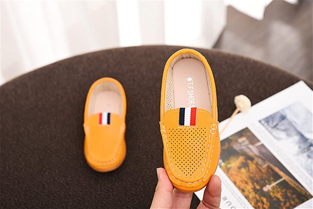 Perforated Design,Breathable Shoes Slip-On Leather Flat Shoes for Kids Boys /& Girls