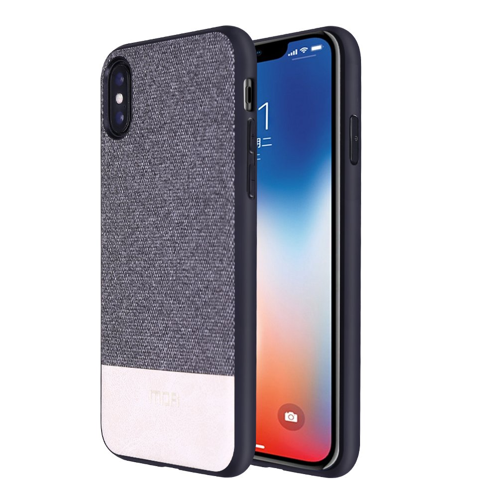 iPhone X Cases, Anti-Scratch Shock-Absorbing Fabric Business Men Covers Full Silicone Soft Edges Great Grip, Fully-Protective Compatible iPhone X(Gray+White)