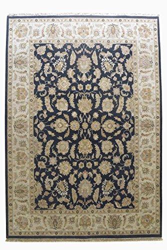 (Merorug Genuine Nepali Hand Knotted Woollen Rug 9' x 12' 9 x 9 Knot Area Rug Black Color 9 feet x 12 feet Carpet)