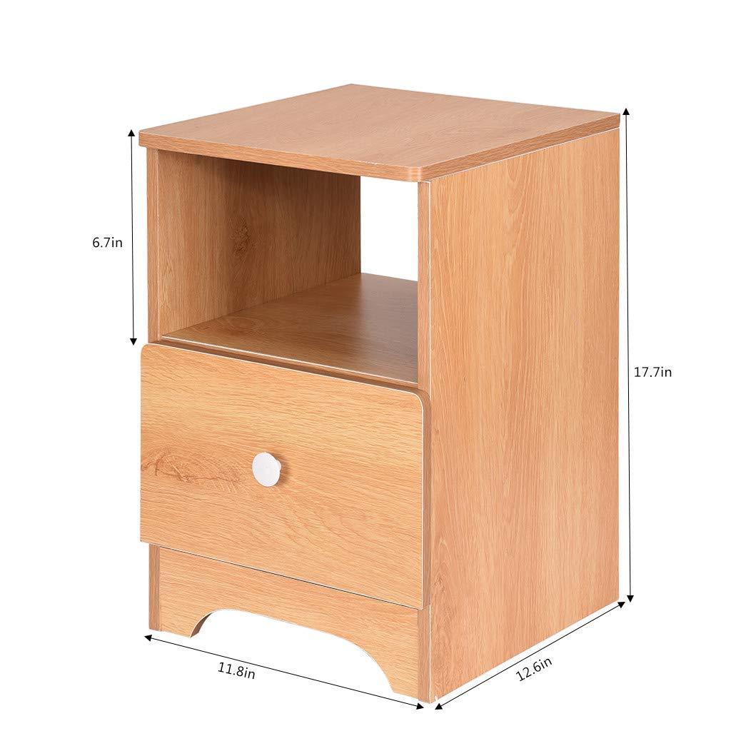Barhalk Assemble Storage Cabinet Sofa Bedroom Bedside Locker Nightstand Wood Single//Double Drawer Contemporary Vintage Bedroom Living Room Cabinet End Table
