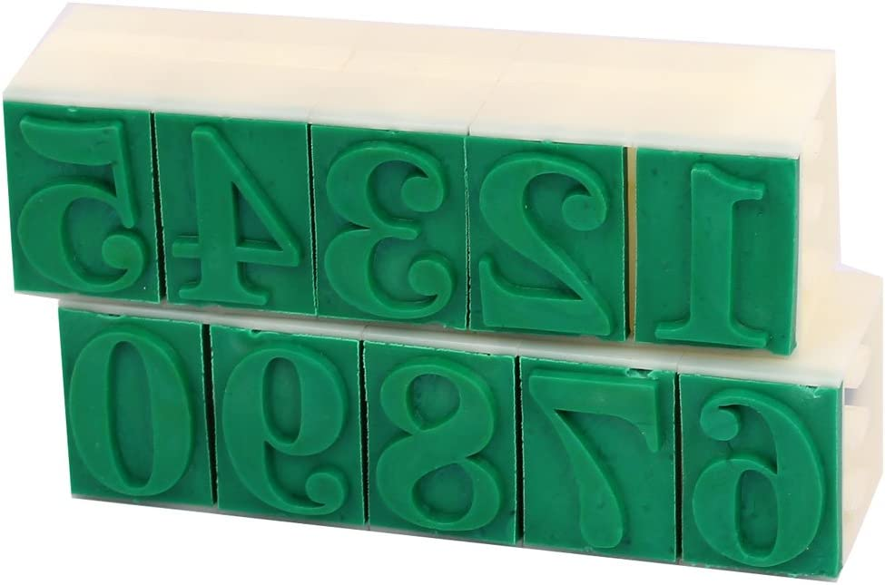 uxcell Rubber Head Detachable 0-9 Digits Arabic Numerals Numbers Stamp Set