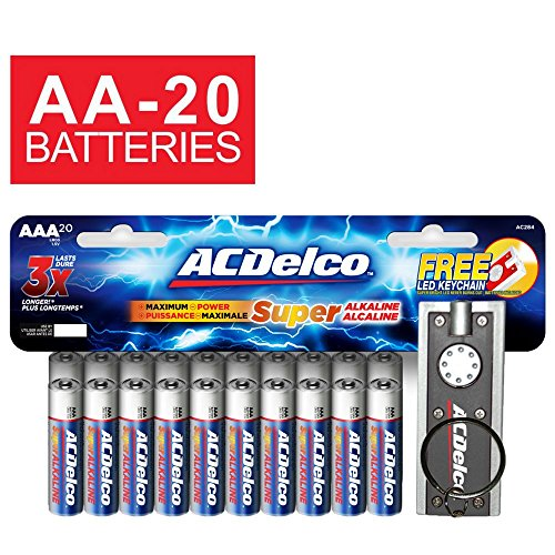 ACDelco AA Super Alkaline Batteries, 20 Count and Bonus LED Keychain