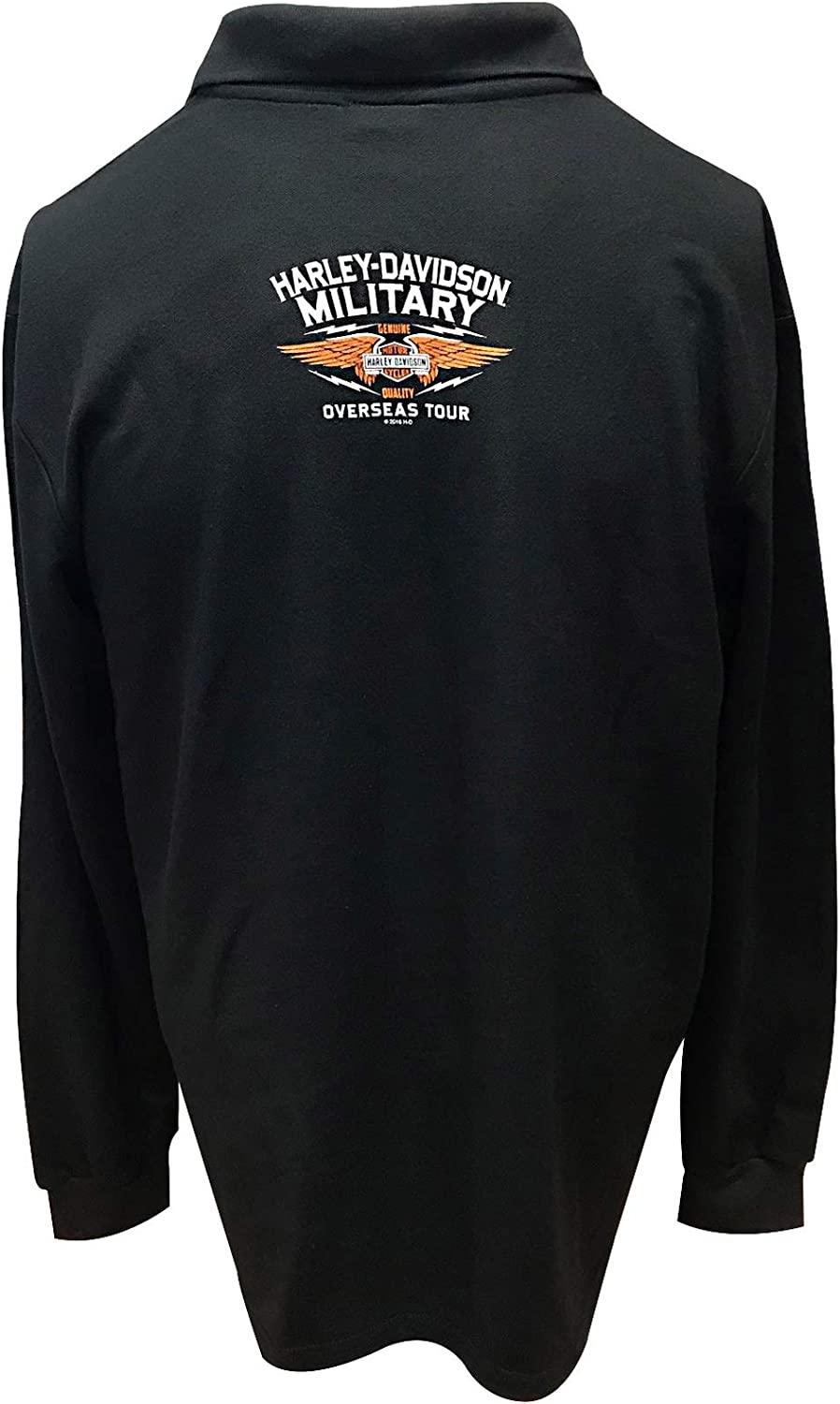 Mens Long-Sleeve Collared Sport Shirt with Front and Back Graphics Overseas Tour Eagle Polo Harley-Davidson Military